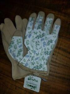 IN THE GARDEN SAGE ETCHED SUEDE NOT LEATHER GARDENING GLOVES MOTHER'S DAY $30