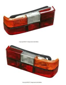 For Volvo 240 244 Pair Set of Left+Right Tail Lights w/ Black Trim Aftermarket