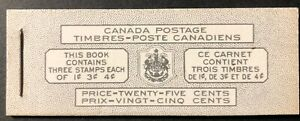CANADA 1952 BOOKLET # 44 KING GEORGE VI WITH PANES #s 284a, 286a, 306a