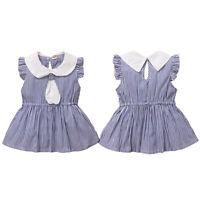 Kinder Gestreift Ärmellos Kleid Kleid Sommer Strand Hochzeitsfeier Kleidung
