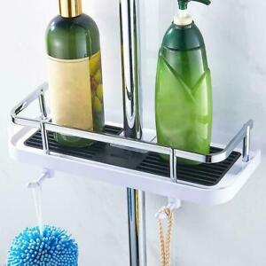 Bathroom Shelf Shower Pole Storage Caddy Rack Organiser Tray Holder With 2 Hooks