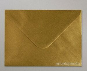 """C5 Gold Metallic 162mmx229mm (6 3/8"""" x 9"""")  Envelopes for A5 Cards 100 gsm"""