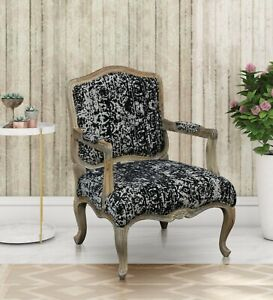 Carving Armchair 100% cotton Fabric Natural Mango Wood Finish Living room Relax