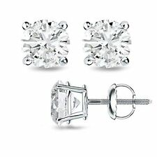 0.50CT F/VS2 Round Cut Genuine Diamonds 14K Solid White Gold Studs Earrings