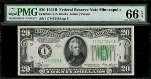 1934B $20 Federal Reserve Note Minneapolis FR.2056-I - Graded PMG 66 EPQ
