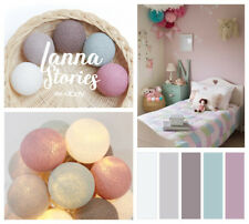 20 Cotton Ball Lights Bedroom Fairy Nursery Blue Yellow Olive Pink