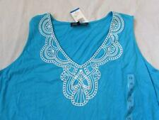JONES NEW YORK 1X turquoise blue embroidered vneck tunic tank top tie waist NEW