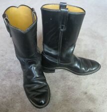 Black Leather Fire or Police Style Boots Men's 9