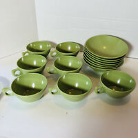 Retro 14-Pc Coffee Cups/ Mugs and bowls Vintage Melamine Melmac Avocado Green