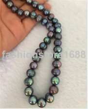 8-9mm south sea baroque black green pearl necklace 18inch 925s