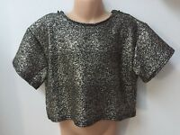 Ex Matalan Candy Couture Girls Black and Gold Sparkly Crop Top for Ages 8 to 15