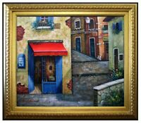 Framed Quality Hand Painted Oil Painting, Osteria Del Gallo Storefront. 20x24in