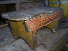 Antique Wood Cricket Bench Footstool Salmon Red & Mustard Paint Primitive AAFA