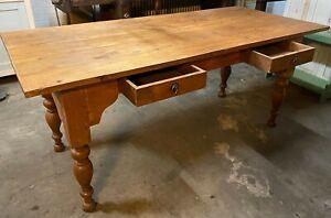 Antike Tisch Esstisch Küchentisch Bauerntisch +2 Schublade Frankreich Weichholz