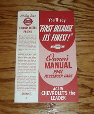 1941 Chevrolet Passenger Cars Owners Operators Manual 41 Chevy
