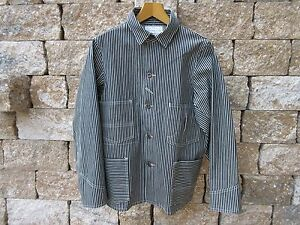 Heavy Engineer Hickory Stripe Denim Vintage Worker Jacket 1918 Lutece Mfg US 46