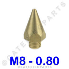 UNIVERSAL CONICAL THREADED M8x1 0.8mm DIAMETER GAS BURNER INJECTOR BRASS NOZZLE