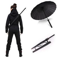 Japanese Katana Windproof Black Warrior Umbrella Samurai Sword Handle Strap Fold