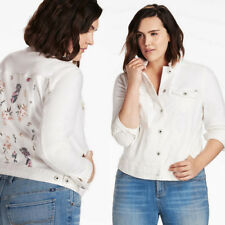 Lucky BRAND Womens Plus Size Denim Trucker Jacket in White Botanical Toss 2x Whi