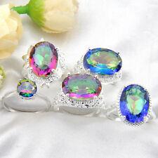 Wholesale Mixed 5 Style 1 Lot Rainbow Mystic Topaz Gems Silver Rings Sz 6 7 8 9