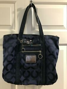 Coach Tote Poppy Op Art Glam Shopper Book Bag Navy Blue Canvas Patent Leather