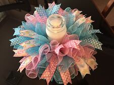 "17"" Handmade Baby Shower Deco Mesh Centerpiece For Gender Reveal Party Or Twins"