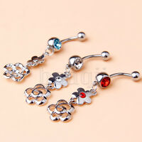 3pcs New Design Stainless Steel Body Jewelry Belly Ring Double Flower 3-Color MA