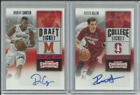 2016 Panini Contenders Draft Picks Robert Carter & Rosco Allen Auto 2 Card Lot