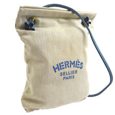 HERMES Aline PM Shoulder Bag Blue Canvas Leather Authentic RK13690b
