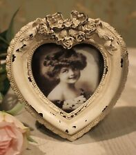 Cadre D'Image Debout Shabby Baroque Blanc Coeur Amour Mariage 12,5 x 12cm Neuf
