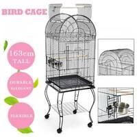 Large Metal Bird Cage Parrot Canary Budgie Aviary With Wheels 59 x 59 x 163 cm