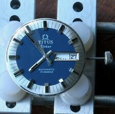 Vintage Titus Clebar divers watch movement dial hands stem & crown repair parts