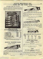 1940 ADVERT Disston Keystone Hand Saw Store Display Rack Stand Sign Double Duty