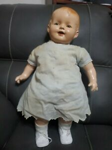 """COMPOSITION AND CLOTH vintage/antique 25 """" doll, socks, shoes, dress, Undershirt"""