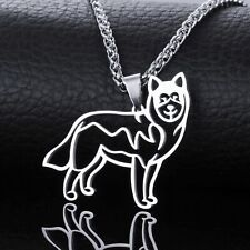 Stainless Steel Alaskan Malamute Husky Mal Mally Pet Dog Charm Pendant Necklace