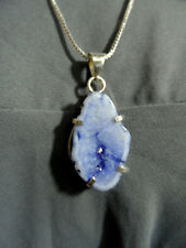"New Blue AGATE Crystal Charm Pendant & 22"" NecklaceSet 925 Silver Diamond Boho"