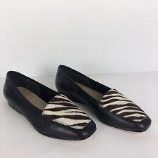 Enzo Angiolini Liberty Black Leather Fur Zebra Loafer Flats Slip On Shoes Sz 6M