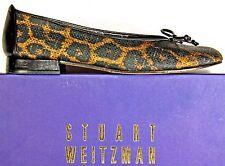 Stuart Weitzman Leopard Crosshatched Stiching Ballet Flats Shoes sz 9 N
