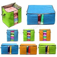 Foldable Clothes Quilt Blanket Storage Bag Charcoal Bamboo Organizer Zipper Box