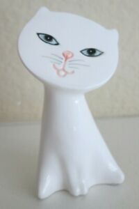 """Vintage Flat Face White Cat Figurine-Mid Century Modern-1960's-Made in Japan-3"""""""