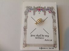 "Shall Be My Witness"" Acts 1:8 Gold Tone Cross Pin Tie Tack ""You"