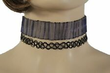 New Women 2 Pcs Choker Necklace Blue Grey Fabric Black Elastic Fake Tattoo Style
