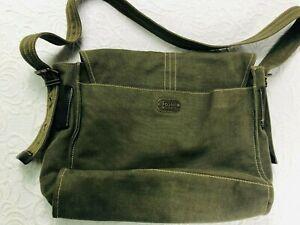 FOSSIL - Green Canvas Messenger Bag Satchel Bag (pre-owned)