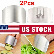 2Pcs Kitchen Finger Hand Protector Guard Stainless Chop Slice Shield Cook Tool