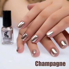 6ml Champagne Metal Nail Polish Mirror Effect Chrome Varnish Manicure Nail Art