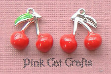 5 x Silver Plated & Enamel RED CHERRY FRUIT 16mm Charms Pendants Beads