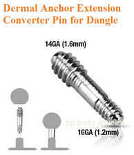 14G~6mm length Steel Dermal Anchor Extension Threaded Converter Pin for Dangle
