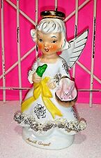 Vint. Easter Ucagco April Birthday Angel Figurine, Bunny Rabbit, Spaghetti Trim