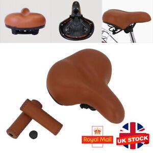 Vintage Style BROWN Saddle Handlebar Grips Set Bike PU Leather Spring Saddle