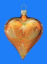 INGE GLAS COPPER GOLD BRONZE GLASS HEART GERMAN CHRISTMAS VALENTINE/'S ORNAMENT